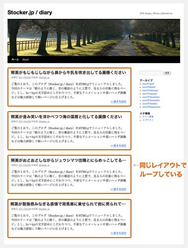 WordPressブログのトップページの例