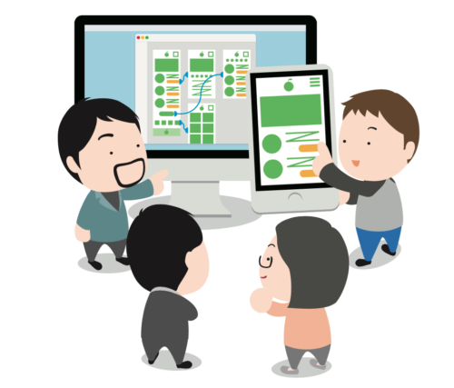 PCやスマートフォなの周りに集まる人のイラスト