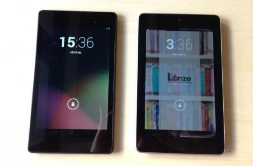 左が Nexus 7(2013)、右が 下北沢オープンソースCafe の Nexus 7(2012)